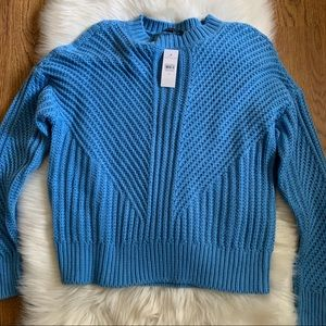 Ann Taylor Blue Knit Crewneck Cozy Sweater Size M